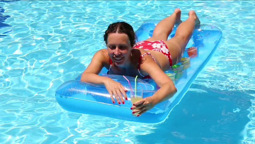 Nymph Swims in the Pool Stock Footage..