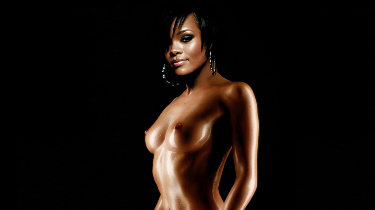 Rihanna naked on Ebony Grease glaze -..