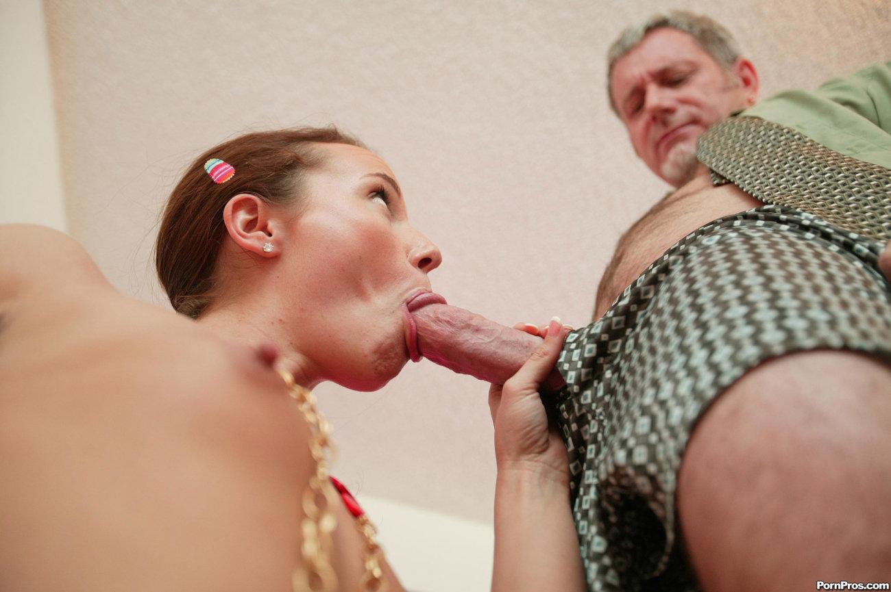 Female gets her older stud stiff and..