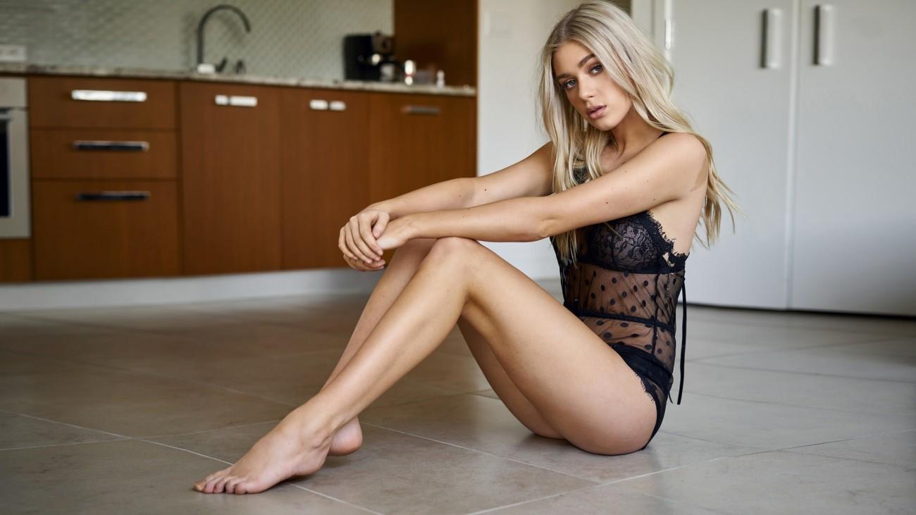 luxurious ash-blonde model in sheer..
