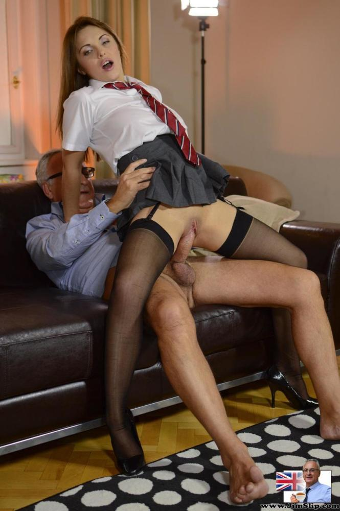 Teenager damsel in her student clothes..