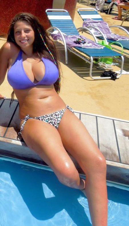 Boobed nubile female in swimming pool,..