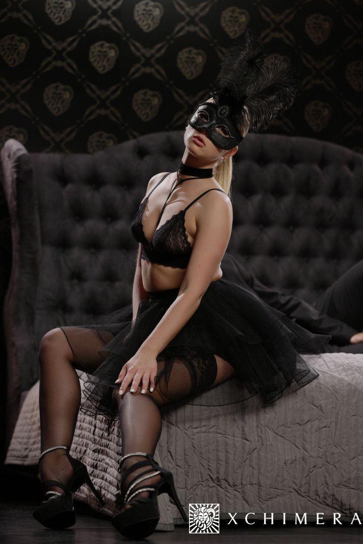Hooded Czech young woman model Vinna..